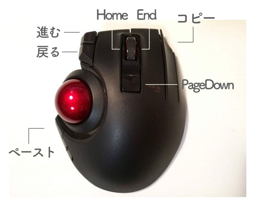 トラックボールマウス-ボタン割当 エレコム EX-G PRO