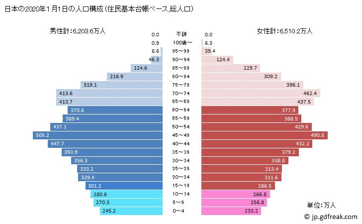 日本の人口ピラミッド2020年
