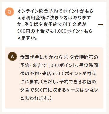 GoToEatポイント予約最低料金